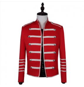 Men's red colored  jazz dance jacket punk rock gogo dancers singers host stage performance short coat jackets