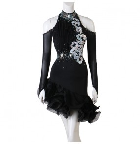 Black latin dance dresses for women female rhinestones competition latin salsa rumba chacha dance dresses