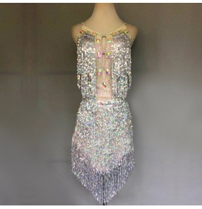 Custom size Silver sequin fringes competition latin dance dresses for women girls