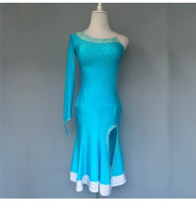Custom size handmade competition blue colored latin dance dresses for women girls salsa chacha dance dress