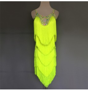 Custom size Neon green tassels women's competition latin dance dresses salsa rumba chacha dance dress costumes