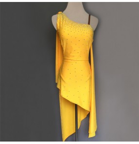 Custom size rhinestones yellow  women's competition latin dance dresses salsa chacha rumba dance dress