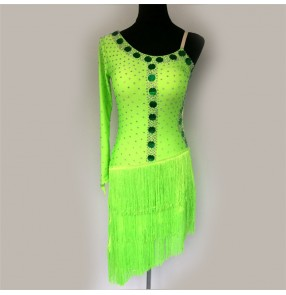 Custom size neon green women's girls tassels competition latin dance dresses salsa rumba chacha dance dresses