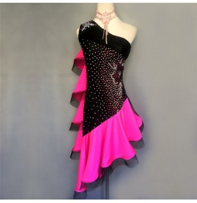 Custom size Black with pink competition girls women 's latin dance dresses salsa rumba chacha dance dresses