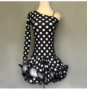 Custom size Black with white polka dot  girls kids latin dance dresses sala chacha dance dress costumes