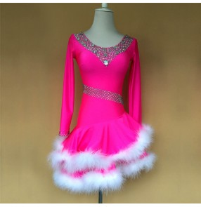 Custom size competition girls kids children latin dance dresses stage performance salsa rumba chacha dance costumes