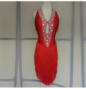 Custom size red colored women girls competition latin dance dresses