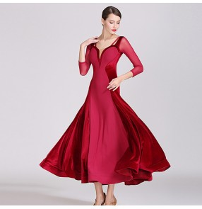 women's Wine dark green ballroom dancing dresses competition waltz tango dance dresses