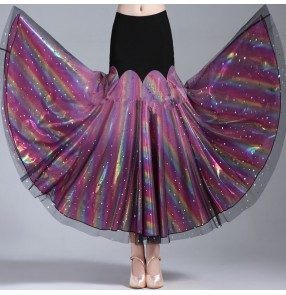 Rainbow colored women's shiny glitter ballroom dancing skirts stage performance waltz tango dance skirts