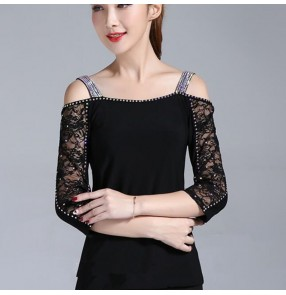 Women's black lace rhinestones ballroom dancing tops waltz tang latin dance shirts tops