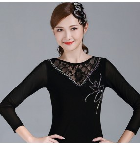 Black lace rhinestones women's competitiom ballroom dancing tops latin dance tops