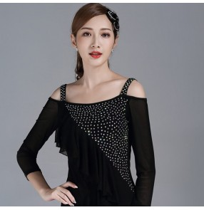 Women's rhinestones black colored ballroom latin dance tops waltz tango dance blouses tops