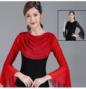 Women's black red latin ballroom dancing tops stage performance waltz tango performance tops