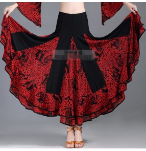 Womebn black white red floral printed ballroom dancing skirts comeptition waltz tango dance skirts