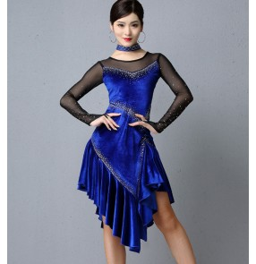 Women's red royal blue velvet tassels latin dance dresses salsa rumba chacha dance dresses