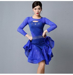 Black royal blue competition latin dance dress costumes for women female salsa chacha rumba dance dresses