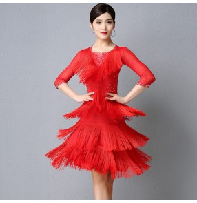 Women's black red orange  tassels competition latin dance dresses chacha rumba dance dress costumes