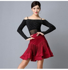 Women's black wine colored latin dance dresses competiton salsa chacha dance dress costumes