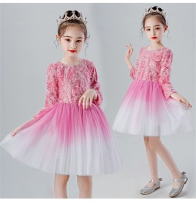 Girls boys kids pink violet princess jazz dance dress show party stage performance chorus singers dresses