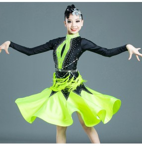 kids girls black with one green competition latin dance dresses show stage performance rhinestones salsa chacha dance dresses
