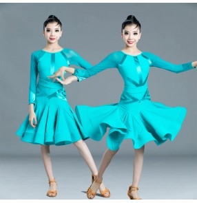 Girls children competition blue purple latin dance dress stage performance ballroom dance dresses