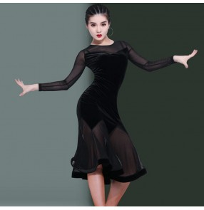 Black velvet with mesh latin dance dance dresses for women girls stage performance salsa rumba chacha dance dresses