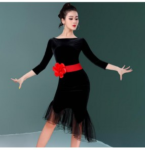 Black velvet latin dress with red rose sashes for women girls salsa rumba chacha ruffles latin dance dress