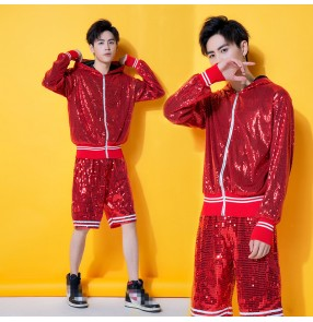 Red sequins men's jazz dance costumes modern dance hiphop pole night club dance cheerleaders stage performance tops and shorts