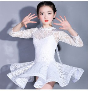 Girls competition latin dresses lace white black long sleeves stage performance salsa rumba chacha dancing costumes