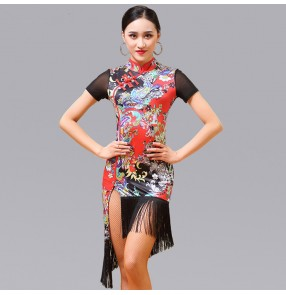 latin dresses Floral printed  rumba chacha latin dresses for women female competition stage performance salsa rumba chacha dance costumes dresses