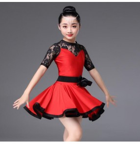 Kids latin dresses lace competition girls stage performance competition salsa rumba chacha dance costumes