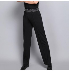 Men's latin dance pants competition stage performance diamond waistline professional chacha ballroom tango waltz chacha dancing trousers