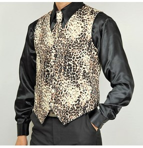 Men's latin ballroom dance leopard vest stage performance competition singers dj jazz dancing vest waistcoats