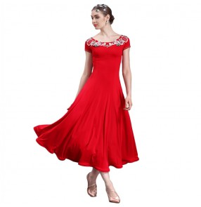 Flamenco dresses red white mint for female women competition floral ballroom tango waltz dancing costumes