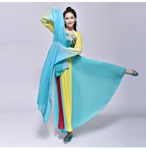 Turquoise fairy Chinese folk dance costumes ancient traditional dancing princess anime cosplay hanfu dresses