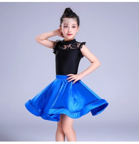 Kids latin dance dresses lace royal blue competition stage performance salsa chacha rumab dancing tops and skirts