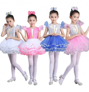 Kids ballet jazz dance dresses for girls paillette silver pink blue party photos singers ds dj cosplay princess stage performance tutu skirts modern dance costumes