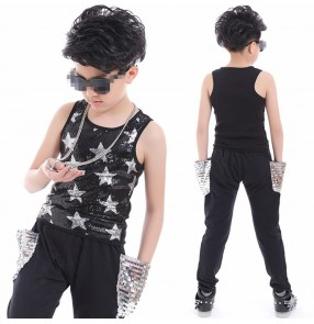 Boys jazz dance costumes paillette modern dance drummer performance school competition hiphop singers group dancers vests and pants