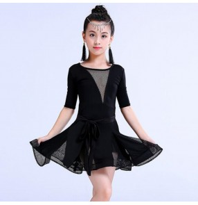 Girls latin dresses stage performance professional black rumba salsa chacha dance costumes
