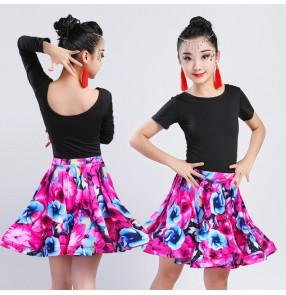 Kids latin dresses girls floral printed stage performance salsa chacha rumba dance tops and skirts