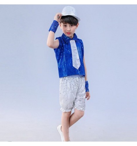 Boy jazz dance costumes kids children royal blue silver hiphop modern dance stage performance singers ds dj dancing tops and shorts  sc 1 st  Aokdress.com & Boy jazz dance costumes kids children royal blue silver hiphop ...