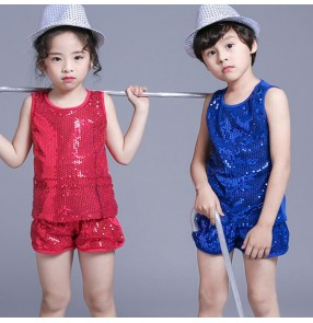 Kids Stage wear Modern dance outfits for Girls royal blue Jazz Dancing Tops shorts Girls Boys sequined cheer leaders Hip Hop dancing costumes