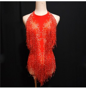 Sparkly  Rhinestones Tassel Bodysuit violet red gold Female Singer DJ Sexy Stage Show Wear Leotard Jazz Dance Costume Crystals Outfits jumpsuits