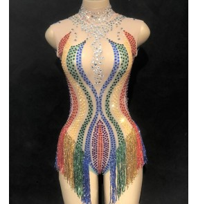 Women's jazz dance bodysuits bling rainbow diamond mesh fabric model show stage performance singers dj night club dancing jumpsuits
