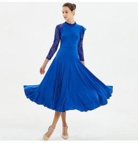 Women's ballroom dresses royal blue red long length competition waltz tango chacha dancing outfits costumes