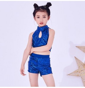 Girls hiphop dance costumes for boys silver red white paillette street dance rap jazz singers model show cheerleaders modern dance tops and shorts outfits