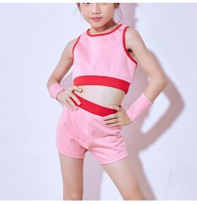 kids cheerleaders stage performance hiphop modern dance outfits for girls boys rap break dance jazz singers model show party competition vest and shorts