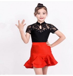 Girls latin dresses lace stage performance competition salsa chacha rumba dancing leotards tops and skirts