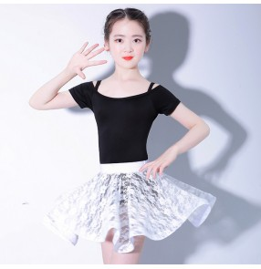 Girls latin dance dresses competition exercises stage performance professional salsa chacha rumba dancing tops and lace skirts