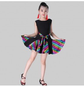latin dance Rainbow skirt for girls kids children stage performance competition salsa chacha rumba dancing dresses